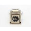 FIAT 500 Keychain - Square Metal w/ Blue FIAT Logo