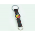ABARTH Keychain - (Classic ABARTH Crest) - Black Leather Band w/ Red Stitch