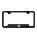 FIAT 500 License Plate Frame (w/Cut Outs for Tags) - Black w/ FIAT Logo