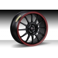 "FIAT 500 Custom Wheels by Team Dynamics - Pro Race 1.2 - 16"" - Custom Matte Black w/ Red Stripe Finish"